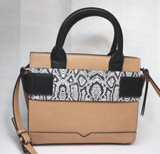 Republic of Aces Gigi Structured Satchel Vegan Crossbody Camel with Snake Accent