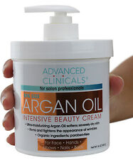 Advanced Clinicals Spa Size Argan Oil Intensive Beauty Cream 16 Oz (454g)