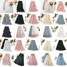 Summer Women Tulle Layered Swing Skirt High Waist Ruffle Elastic Long Maxi Skirt