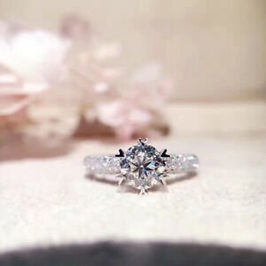 1 CT Simulated Diamond 925 Sterling Silver Solitaire Engagement Wedding Ring