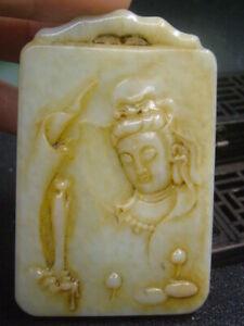Antique Chinese Nephrite Celadon-HETIAN-JADE Buddhism Statue/Pendant QING9
