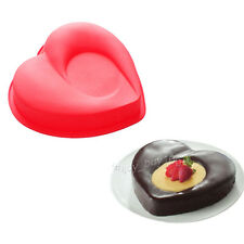 "Flexible 8"" Love Heart Gelatin Cake Baking Pan Silicone Mousse Mold Party Maker"