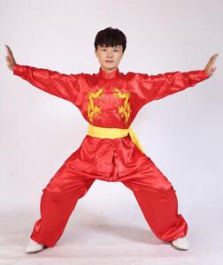 Silk Martial Arts Kung Fu Uniform Tai Chi Suit Wushu Clothes Dragon Embroidery