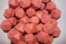 17mm Silicone loose Beads Maroon x10 Hexagon red BPA Free lead free non toxic