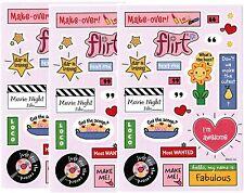 3 Sheets GIRL TALK Text FUN Scrapbook Stickers! Flirt Makeover Fabulous STAR