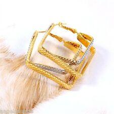 18K Yellow & White Gold Filled Square Hoop Earrings (E-239)