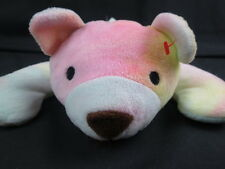 TY 1998 PILLOW PAL TEDDY BEAR SHERBET LAYING DOWN YELLOW BOW PLUSH STUFFED ANIM