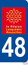 1 Sticker plaque immatriculation AUTO adhésif département 48