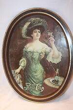"VINTAGE PEPSI COLA SOUVENIR TRAY METAL VICTORIAN LADY WITH GLASS 14.5"" X 11.5"""