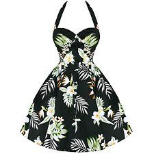 "Amazing  HELL BUNNY ""KIKI"" Black Tropical Floral Print 50's Dress Size M/12"
