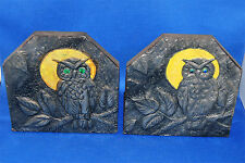 A pair of wonderful antique Victorian bookends, repousse pewter owl detail