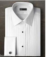 New IKE BEHAR 100% COTTON French Cuff Laydown Spread Tuxedo Shirt FREE CuffLinks