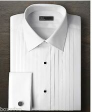 New IKE BEHAR 100% COTTON French Cuff Laydown Spread Tuxedo Shirt FREE CuffLinks