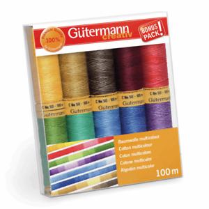 Gutermann 10 reels 100m Natural Cotton thread - assorted variegated multicolour