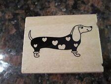 Dachshund Sausage Weiner Dog Valentines Day Hearts Rubber Wood Stamp NEW