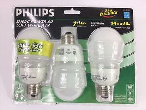 Philips Energy Saver 60 Soft White A19 3 Pk 800 lumens ~FAST~FREE~SHIPPING~