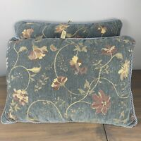 """Stratford Home Decor Set Of 2 Blue Tan Floral Pillows Shabby Chic 22""""x 15"""" Great"""