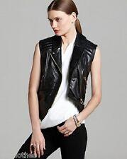 VINCE CAMUTO $198 NEW Sexy Black Faux Leather Moto Biker Zip Vest Jacket S QCO