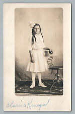 "Long Haired Girl w Modern Design Chair RPPC ""Clarrie"" Interesting Studio Photo"