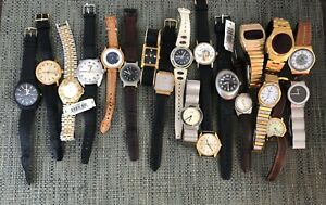 Lot of 20 Vintage Men's Watches Bulova Timex Lucerne LED Russian