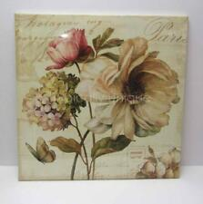 NEW CANVAS 'PARIS' PICTURE SOFT GREEN BROWN PINK ROSE HYDRANGEA BUTTERFLY SCRIPT