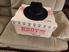 Eddy Designed Chris Eddy Western Cowboy Hat Beaver Xxxx Size 7 Black Vtg in Box