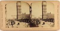 UK Londra Istantanea Big Ben c1896 Foto Stereo Vintage Albumina