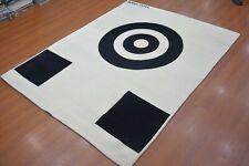 7'6 x 9'6 Rug | Modern Rug Hand Tufted White & Black Wool Area Rug
