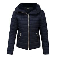 Ladies Quilted Padded Puffer Bubble Fur Collar Thick Women Hooded Jacket Coat Wa