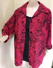 White Stag Women's Button Down Shirt w/Attached Cami, Black-Red, Size 2X