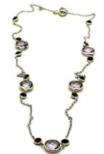 14K White Gold Necklace Pink Amethyst and Garnet Gemstones 18 Inches