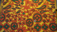 "Vintage Hippie Cotton Fabric LARGE GREEN & ORANGE FLORAL ON YELLOW 35""/44"""