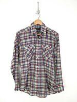 Vintage Levis Button Up Shirt Men Medium Gray Red Blue Plaid 90s
