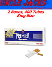2x Premier Full Flavor King Size Cigarette Tubes 2 CARTONS 400 Tubes