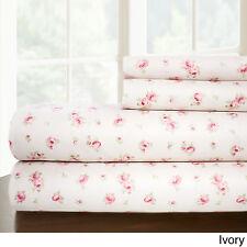Sweet Rose Printed 4 pc Sheet Set Twin Blush Polyester Machine Wash Floral linen