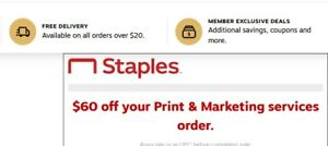 Staples coupon $60 off Print and Marketing services order