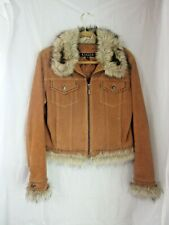 GIACCA TAN SUEDE WOMANS JACKET FUR COLLAR SIZE MEDIUM