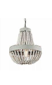 Gray White Finishing Wood Bead Chandelier Pendant Lamp Light Fixtures 1-Light