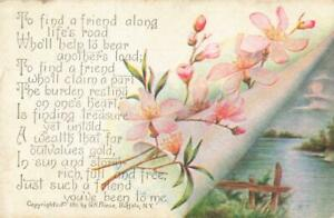 ARTIST DRAWN  -  TO FIND A FRIEND ALONG LIFE'S ROAD , FLOWERS 1912  USA POSTCARD
