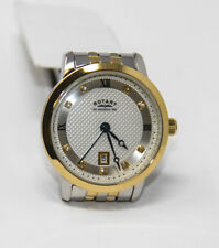Authentic Rotary Women's Watch LB42826/41 Analog Swarovski Crystals Silver Gold
