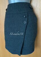 Karen Millen UK 10 Dark Grey Wool Front Button Casual Wrap Style Mini Skirt EU38