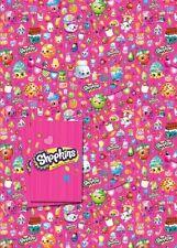 SHOPKINS - 2 Feuilles de Cadeau Papier Emballage et 2 Étiquettes Cadeau