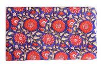 3 Yard Indian hand block print 100% Cotton Blue Sun Flower Jaipuri Anokhi Fabric