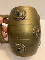 """Antique Brass Mug Stein Tankard Inset w/ Turquoise & Coral Cabochons Heavy 4.6"""""""