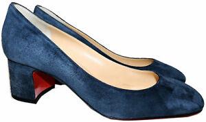 Christian Louboutin Pumps DONNA STUD 55 Blue Suede Heels Shoes 37.5