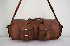 "19"" Vintage Leather Duffle Bag Sports Gym Yoga Barrel Bag Travel Luggage Handbag"