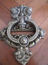 STUNNING LARGE OLD BRASS CHERUB DOOR KNOCKER