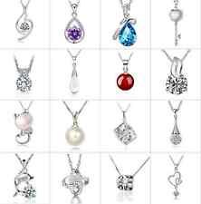 Cristal de Plata Esterlina 925 Zircon Colgante Collar Joyería encanto de mujer NUEVO