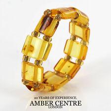 GERMAN BALTIC Clear Honey AMBER Handmade Elastic Ring RB021 RRP £35!!!