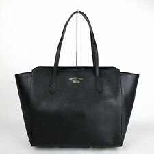 $1550 New Gucci Black Leather Large Swing Tote Handbag w/Trademark 354397 1000